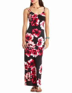 Blue Floral Print Maxi Dress by Charlotte Russe | Charlotte Russe ...