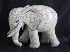 sculpture raku éléphant animaux céramique grès  Danièle Meyer (