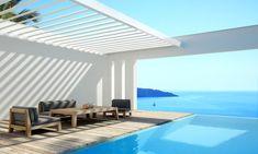 """Sistema de cubierta impermeable para integrar en su arquitectura. El techo está formado por """"aspas"""" de aluminio que se puede inclinar para ajustar la protección solar y ventilación según sea necesario."""