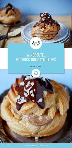 Windbeutel mit Nuss-Nougatfüllung #windbeutel #kleingebäck #brandteig #brandteigkrapferl #brandmasse #gebäck #backen #rezept #rezepte #nuss #nougat #füllung #schoko I Love Food, Good Food, Simply Yummy, Eclairs, Sweet Desserts, Pain, Muffins, Cupcakes, Sweets