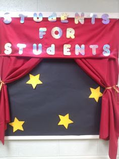 Use the curtain look for a Welcome to Mrs. Parks' Class Starring... or....