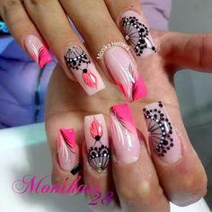 Nails Pretty Pink Nailart Ideas For 2019 Colorful Nail Designs, Nail Designs Spring, Cool Nail Designs, Easy Nail Art, Cool Nail Art, Gorgeous Nails, Love Nails, Mobile Nails, Mandala Nails