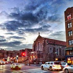The skies proclaim the work of his hands. Good Shepherd Catholic Church, Inwood, NYC