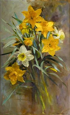 "https://www.facebook.com/MiaFeigelson ""Daffodils"" By Anne Cotterill, from Scotland, UK - oil on canvas - http://www.millhousefineart.com/ https://www.facebook.com/AnneCotterillFlowerGreetingsCardsAndPrints"