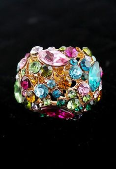 Multi Gemstone Gold Fashion Ring