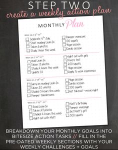Monthly Goal Planner Goal Tracker Weekly Goal by EasyPeasyPaper