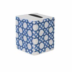 Haute Home Hand-Embroidered Linen Cane Tissue Box Cover - BLUE