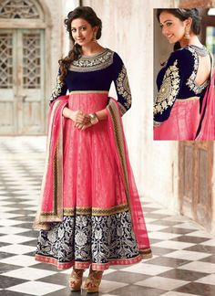 BUSY EMBROIDERY - at anarkali's border, for making statement everywhere you go wearing it. Navy blue and pink designer anarkali dress suit with white embroidery. Abaya Fashion, India Fashion, Asian Fashion, Look Fashion, Women's Dresses, Indian Dresses, Indian Attire, Indian Wear, Indian Style