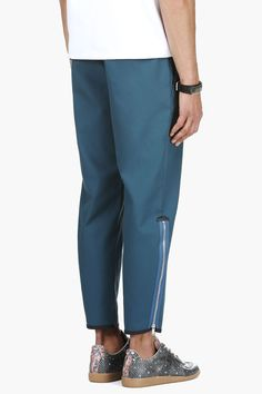 ALEXANDER MCQUEEN Teal Zipped Cropped Trousers