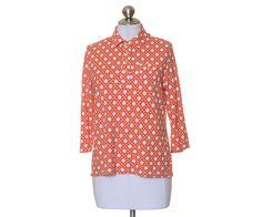 Talbots Burnt Orange Geometric Stretch Knit Partial Button 3/4 Sleeve Blouse L #Talbots #Blouse #Casual