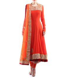 #Coral Dori Embroidered Georgette #Anarkali #Suit #Karvachauth #Special at #Indianroots