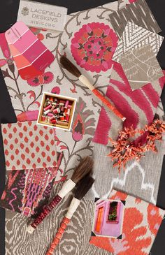 Lacefield Designs Firefly and Hibiscus #Textile #MoodBoard #pink www.lacefielddesigns.com