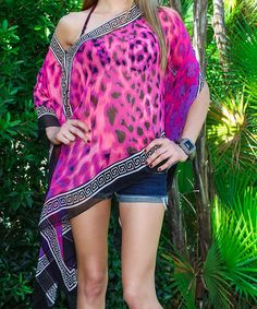 This Pink & Black Cheetah Greek Key Tunic is perfect for cruise/resort wear