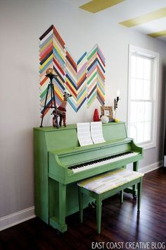 Playroom Piano. love the ceiling too