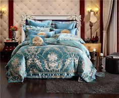 4/6/9 Pieces blue Jacquard Silk Cotton Luxury Bedding Set King Size Queen Bed Set embroidery Duvet Cover Bed Sheet Pillowcase