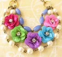 Flower Necklace Colorful Jewelry Bridesmaid Necklace by zafirenia, $55.00