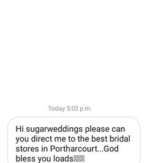 Any recommendations for the BEST bridal stores in Port Harcourt ???? Someone needs this info