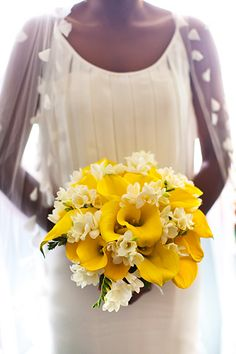 lovely yellow wedding flower bouquet, bridal bouquet, wedding flowers, add pic source on comment and we will update it. www.myfloweraffair.com can create this beautiful wedding flower look.