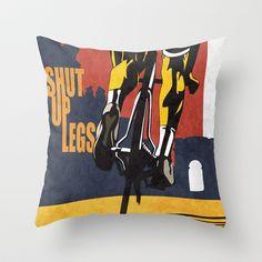 Retro Tour de France Cycling Illustration Poster: Shut Up Legs Throw Pillow by Sassan Filsoof - $20.00