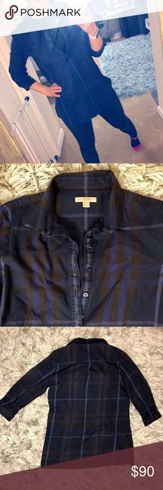 Burberry Brit Check Cotton Tunic Dark Blue Small Gently used used dark blue tunic. 3/4 Sleeved shirt that is perfect for the holiday season. I am typically a size xs/s and this goes down past my waist. I am 5/7 Burberry Tops Tunics