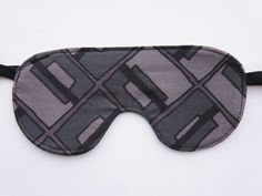 Black & Gray Geometric Sleep mask - eye mask, blindfold, travel mask, sleeping mask, dark cotton mask, for him-  (LightsOutGoBed) by LightsOutGoBed on Etsy