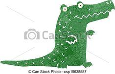 Vector of retro cartoon cute crocodile - Retro cartoon ...