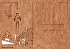 postcard wood 3 Berlin Alexanderplatz cards by formesberlin