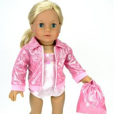b08aa3b29df6 Amazon.com  Doll Clothing for 18 Inch Doll Gymnastics 3 Pc. Set Fits 18  Inch American Girl Doll Clothes   More! Pink Leotard