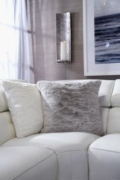 Layer your living room in cool tones for a calming + comforting feel. Click to shop the look.