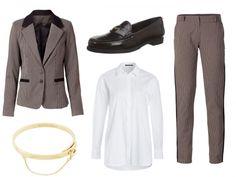 So funktioniert Business-Mode bei Größe 36/38  Schlanke Frauen können bei diesem Trend einen burschikosen Chic ausstrahlen, indem sie zum karierten Hosenanzug farblich passende Leder-Loafer kombinieren. Ein schlicht-minimalistischer Goldarmreif setzt einen weiblichen Akzent. Die weiße Bluse rundet den Business-Look ab. Wer es lässiger mag, trägt ein locker geschnittenes Shirt dazu.