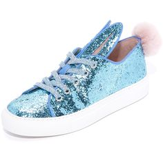 Minna Parikka Tail Sneakers (€225) ❤ liked on Polyvore featuring shoes, sneakers, pale blue, metallic sneakers, fur sneakers, pom pom sneakers, laced shoes and bunny shoes