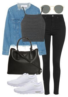 """Untitled #1417"" by alyssa229 ❤ liked on Polyvore featuring Ray-Ban, Topshop, Marques'Almeida, Prada and NIKE"