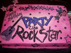 purple rock star birthday cake | PURPLE ICING BLACK AND PINK TRIM AND WRITING # 4