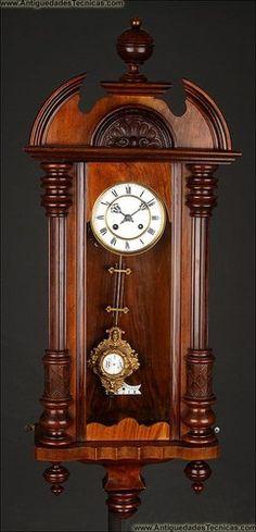 1890 Beautiful German Wooden Wall Clock Fully Restored in Good Working Order | eBay