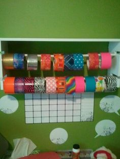 My daughter loves doing duct tape projects but it was everywhere organized it with this cute shelf