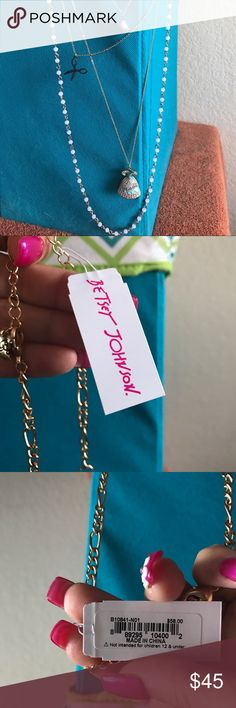 BETSET JOHNSON CINDERELLA NECKLACE Layered beaded chains with the the following charms:  princess dress, pink thread spool and black scissors.  Very adorable😀💓 Betsey Johnson Jewelry Necklaces