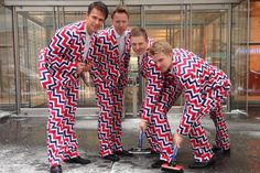 Thanks to their loud pants, the Norway Curling Team managed to make curling cool at the Vancouver Olympics. At Sochi, they will be donning four new uniforms. Here's a look back at some of their best fashions. Olympic Sports, Olympic Team, Olympic Games, Crazy Pants, Funky Pants, Us Olympics, Winter Olympics, Olympic Curling, Transformers 4