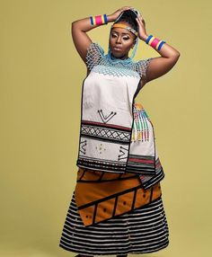 Pedi Traditional Attire, Traditional Dresses Designs, Traditional African Clothing, Traditional Outfits, Xhosa Attire, African Attire, African Wear, African Fashion, African Outfits