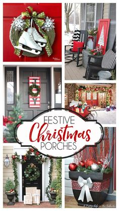 so many inspiring Christmas porch decorating ideas! so many inspiring Christmas porch decorating ideas! Outdoor Christmas, Country Christmas, Winter Christmas, All Things Christmas, Christmas Home, Christmas Wreaths, Christmas Crafts, Christmas Ideas, Winter Porch