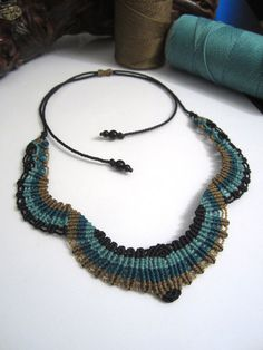 Macrame Necklace Handmade and with gemstones by PapachoCreations, $40.00