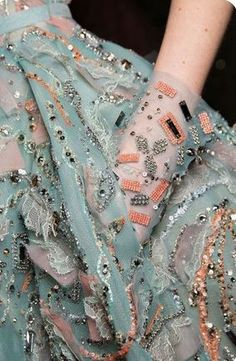 Fashion Week Runway Looks Ziad Nakad at Couture Spring 2019 - Backstage Runway Photos. Teal beaded e Couture Embroidery, Embroidery Fashion, Embroidery Dress, Beaded Embroidery, Embroidery Designs, Couture Beading, Couture Embellishment, Couture Fashion, Fashion Art