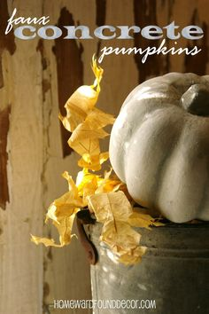 I was inspired by a trip to Roger's Gardens Nursery in Corona del Mar, California when I spied some HUGE, GINORMOUS concrete pumpkins a. Dollar Tree Pumpkins, Plastic Pumpkins, Cement Crafts, Concrete Projects, Painted Outdoor Furniture, Pumpkin Bucket, Rogers Gardens, Painting Concrete, Concrete Art