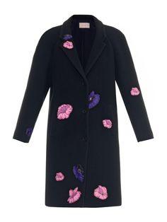 CHRISTOPHER KANE Flower-Sticker Appliqué Coat