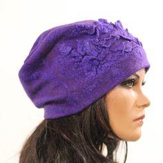 Felt free form hat soft Chunky light purple felted silk no size Unique exclusive Regina Doseth handmade in Lithuania EU