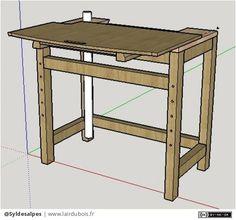 Table pour scie à onglet par Syldesalpes - Table pour scie à onglet, avec plateau coulissant pour permettre un gain de place lorsqu'elle ne sert pas.