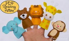 Felt Finger Puppets- PDF patterns available for a fee.  Also available: pets, Pooh, monsters, bugs, nativity & creatures from: zoo, sea, & woods.