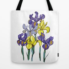 Tote bag with vivid iris flowers. Original artwork was hand-drawn by me with colored pencils and ink. Available at society6.com/kaoria