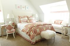 The 2014 Southern Living Idea House I a colorful bedroom, designed by Suzanne Kasler