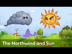 The Sun and the wind This illustration uses curved lines, circulars and dot shapes to draw the eyes and mouths to show emotions of the Sun and the wind. Reference: Mackinnon, M. The Sun and the Wind. England: Usborne Pub Ltd Small Stories For Kids, English Stories For Kids, Moral Stories For Kids, English Story, English Rhymes Videos, Stories With Moral Lessons, Weather Wind, Alternative Energy Sources, Teaching Time