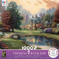 This 1000 piece puzzle features a Thomas Kinkade painting of a lovely stone manor in the country with a lake and stream. x when completed. Made in the USA Gender: unisex. Kinkade Paintings, Oil Paintings, Thomas Kinkade Puzzles, Lakeside Manor, Akiane Kramarik, Willem De Kooning, Old Stone, Famous Artists, Artist Art